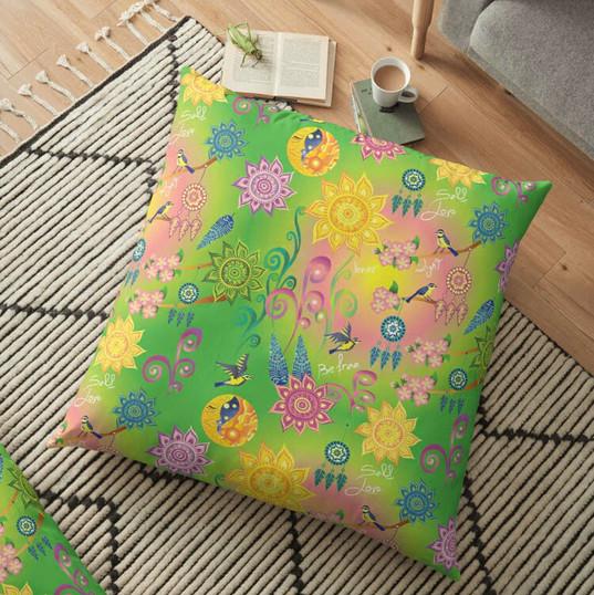 Cherry Blossom Floral Mandala Dreamcatcher Feathers Self Love Pattern Large Floor Pillow