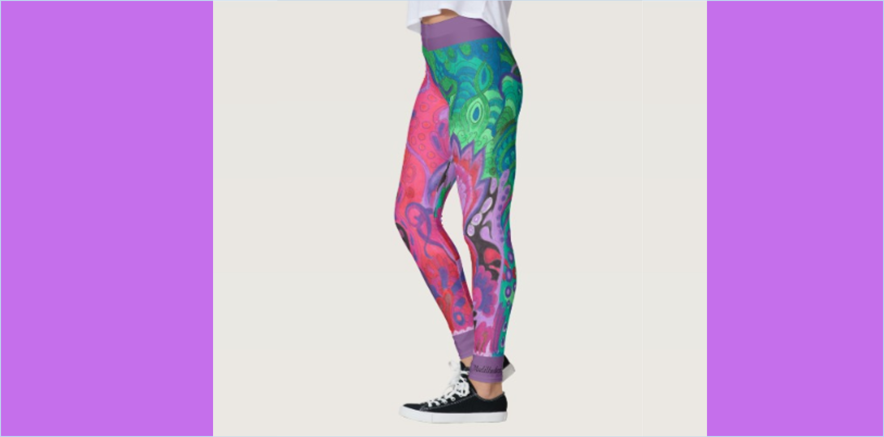 Yoga pants leggings abstract floral Inner Garden violet green