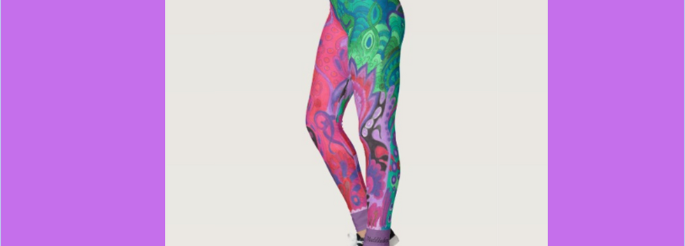 Yoga pants leggings abstract floral Inner Garden violet green