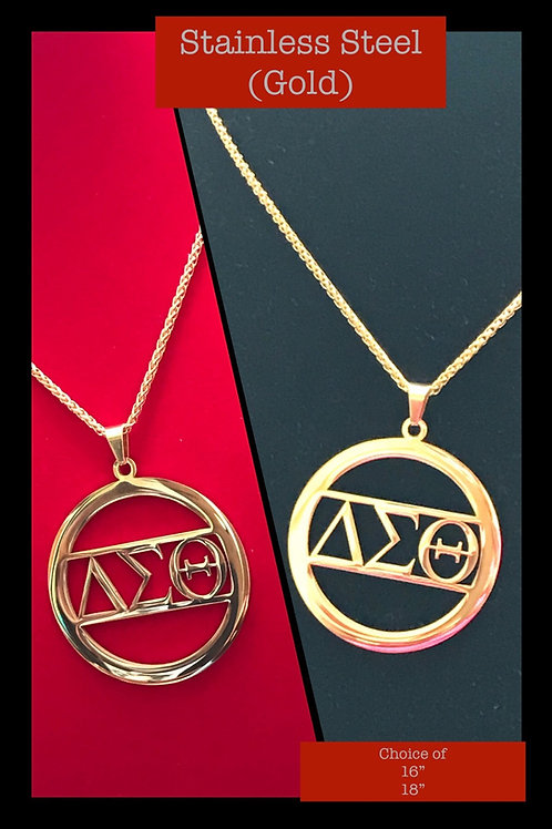 Beautiful Med Circle of Love - Gold Stainless Steel Necklace!