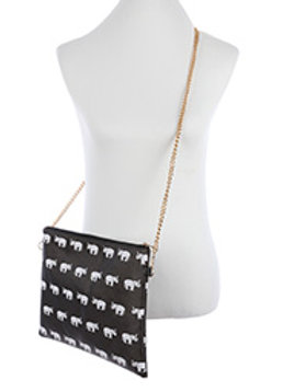 Black Elephant Print Crossbody Clutch