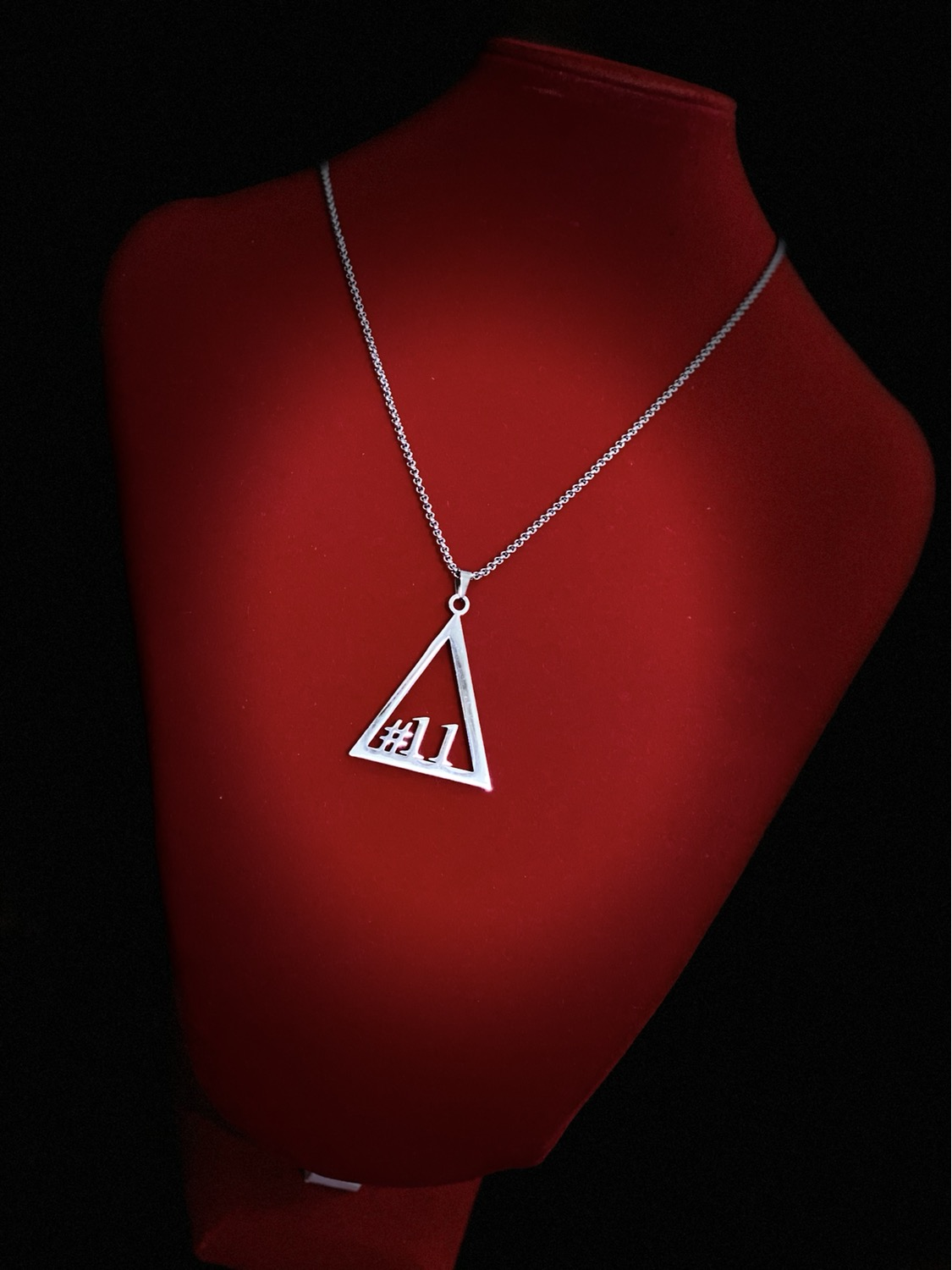 Thumbnail: Delta #11 - #20 Line Numbers SILVER Stainless Steel Pendant-Necklace!
