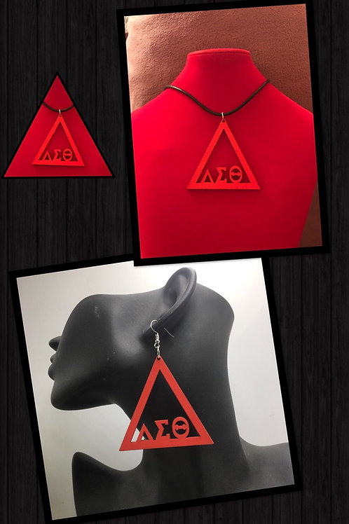 Red Triangle Wood Necklace & Earrings