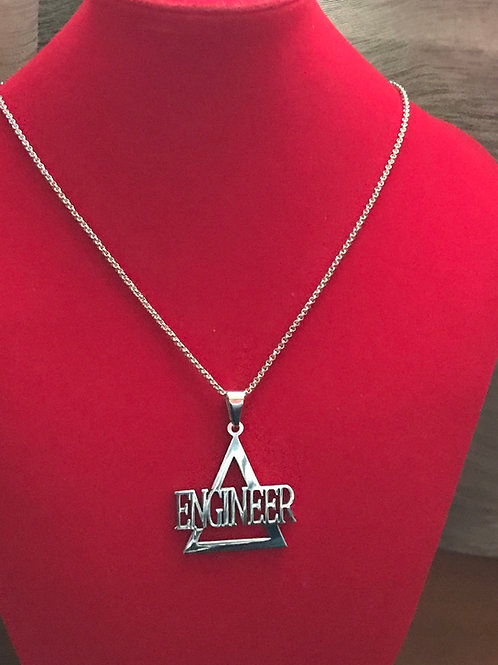 Delta Engineer Silver Stainless Steel!  Pendant-Necklace