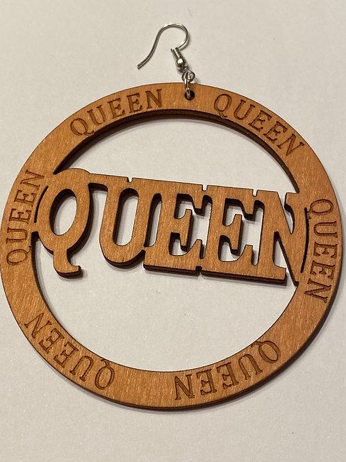Queen Round Wooden Earrings Light Brown