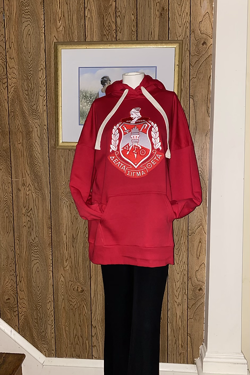 DST RED FLEECE TUNIC PULLOVER HOODIE