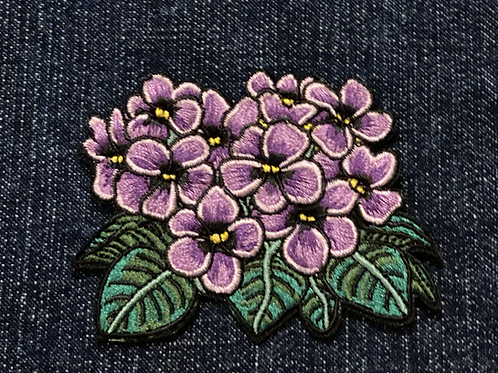 Beautiful African Violets Fully Embroidered Patch