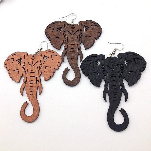 Black Laser Cut Wood Earrings Elephant
