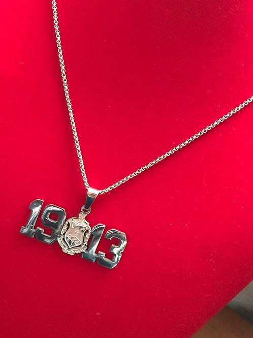 1913 Delta Silver Stainless Steel!  Pendant-Necklace!