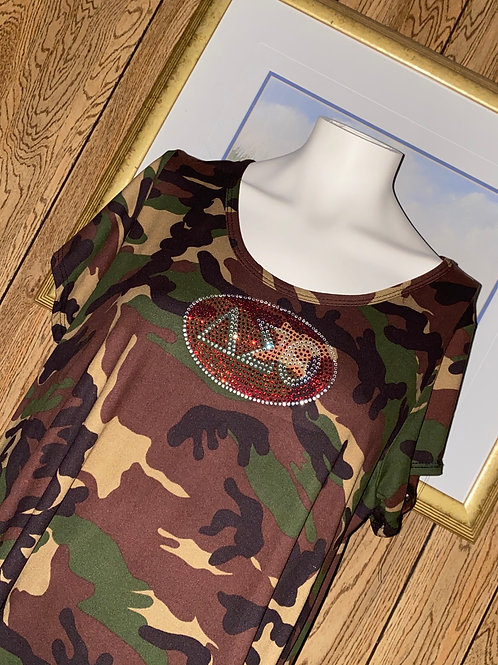 Camouflage Dress Rhinestone DST Short Sleeves