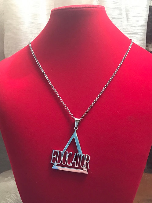 Delta Educator Silver Stainless Steel!  Pendant-Necklace