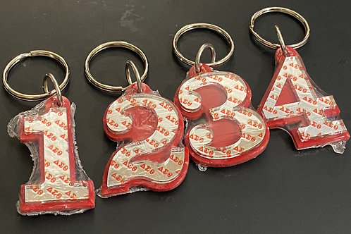 Acrylic Line Number Key Chain