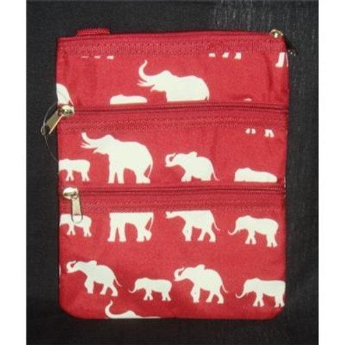 Elephant Print Cross Body Purse Messenger Bag