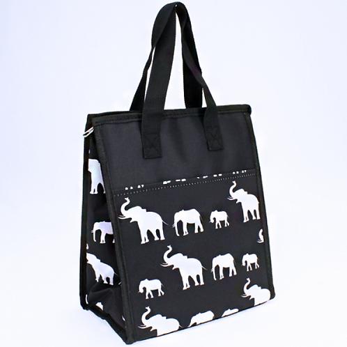 Lunch Bag Elephant Zipper Top Black