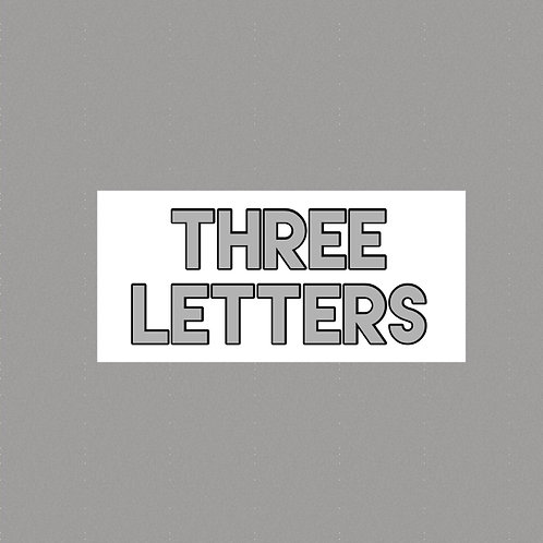 3 Horizontal Letters Silver Stainless Steel