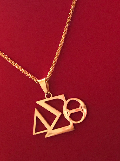 GOLD Stainless Steel 3 Horizontal Letters Pendant-Necklace!