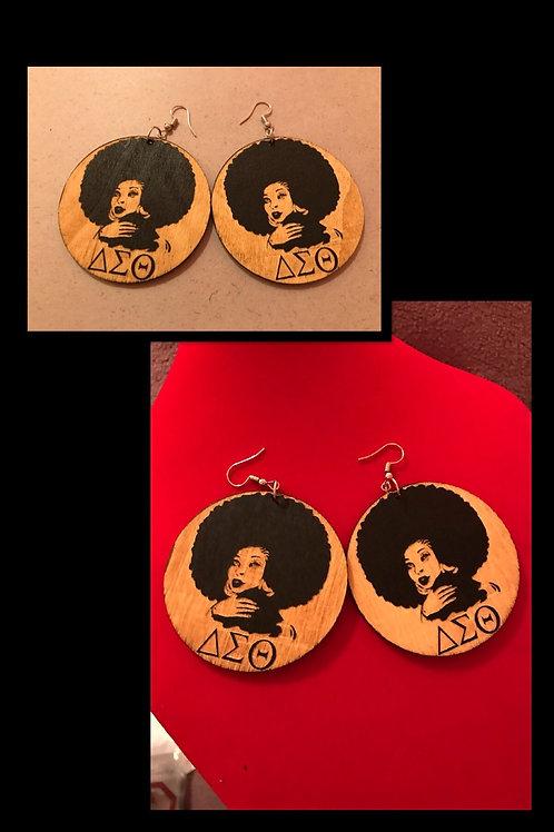 Sisters Keeper Wood Round Earrings