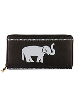 Black Elephant Print Vinyl Clutch Walle