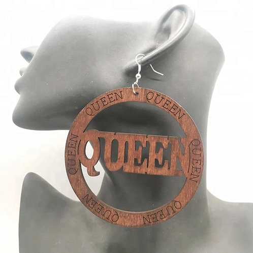 Queen Round Wooden Earrings Brown