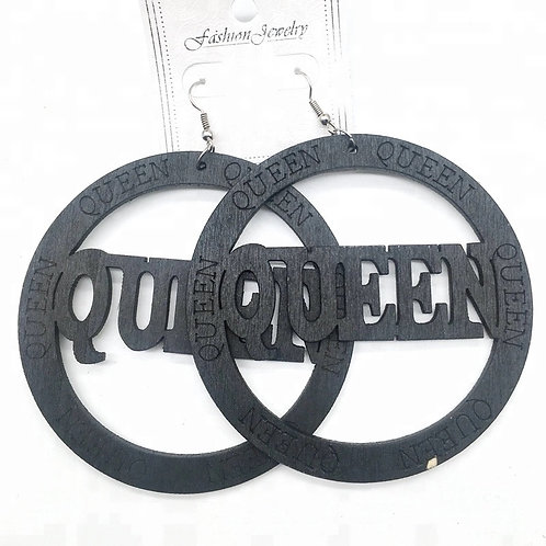 Queen Round Wooden Earrings Black