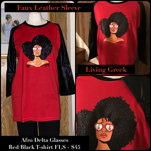 Afro Delta Glasses Red/Black Tee  Faux Leather Sleeves