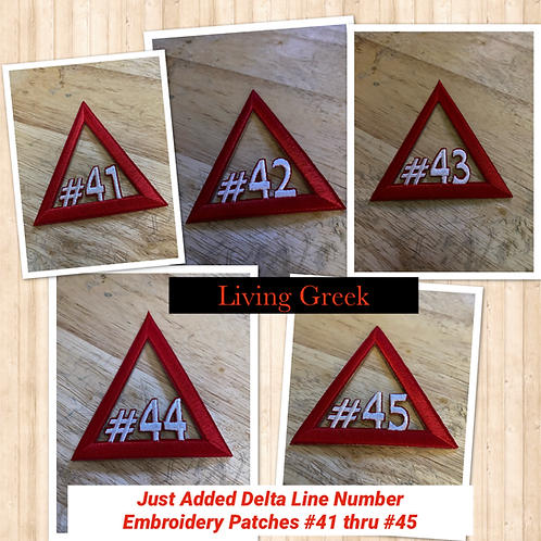 Delta Line Number Embroidery Patches:  #41 - #60