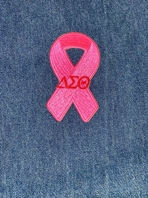 Pink Ribbon DST Embroidered Iron-on Patch