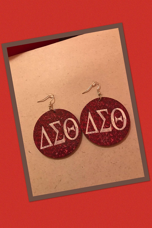Red DST Wood Round Earrings