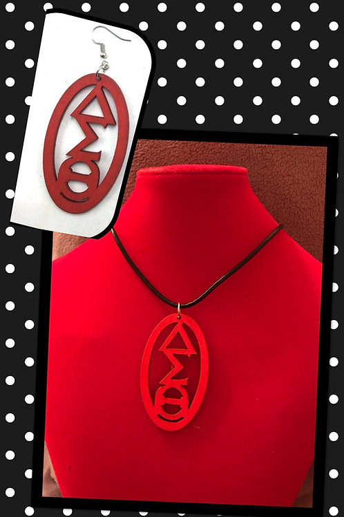 Red Oval Wood Necklace & Earrings