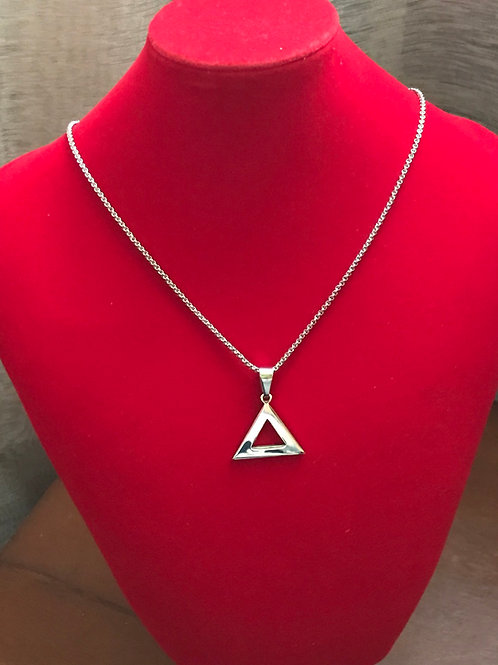 "Delta SILVER 1"" Stainless Steel Pendant-Necklace"