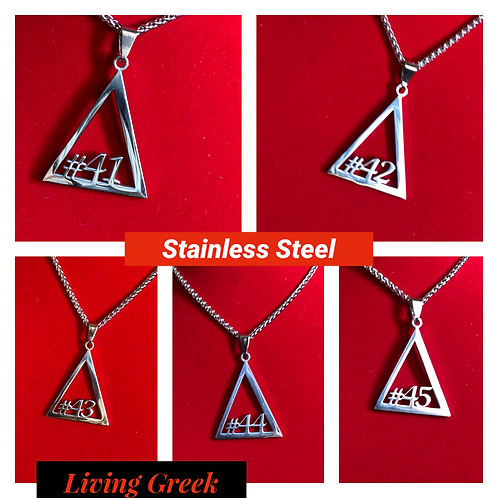Delta #41 - #45 Line Numbers SILVER Stainless Steel Pendant-Necklace!
