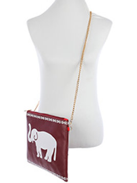 Red Elephant Print Crossbody Clutch