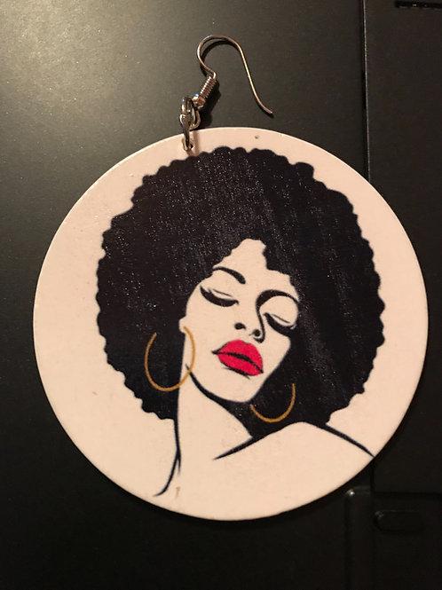 Afro Girl Lean Wooden Earrings