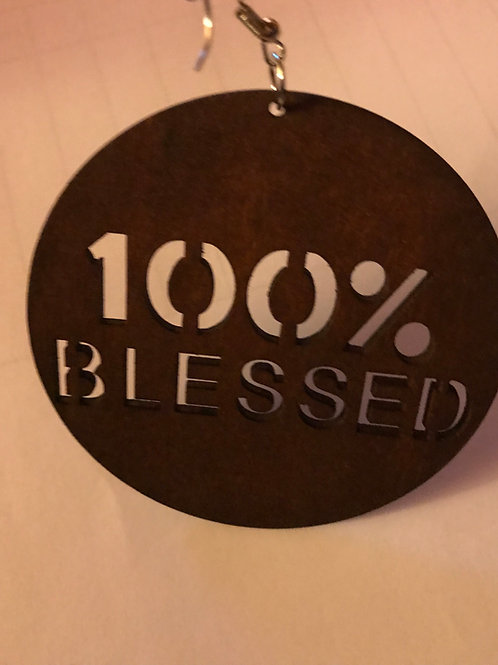 100% Blessed Wooden Earrings  Brown