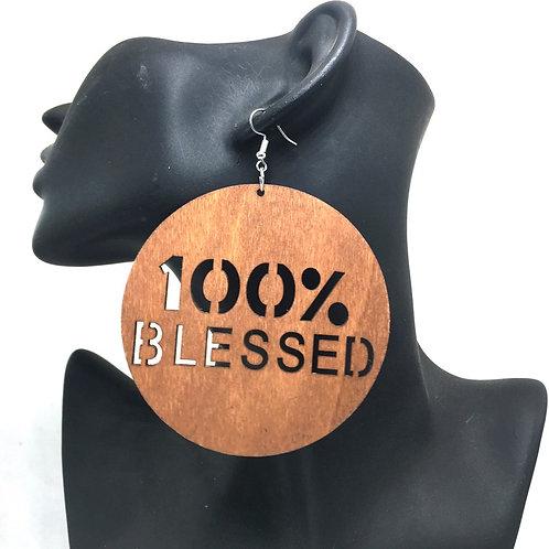 100% Blessed Wooden Earrings TAN