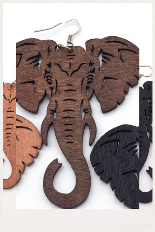 Brown Laser Cut Wood Earrings Elephant