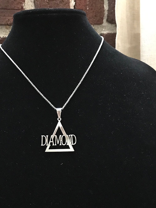 Delta Diamond Silver Stainless Steel Pendant-Necklace