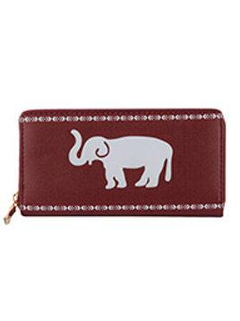 Red Elephant Print Vinyl Clutch Wallet