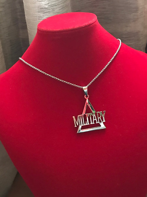 Delta Military Silver Stainless Steel Pendant-Necklace