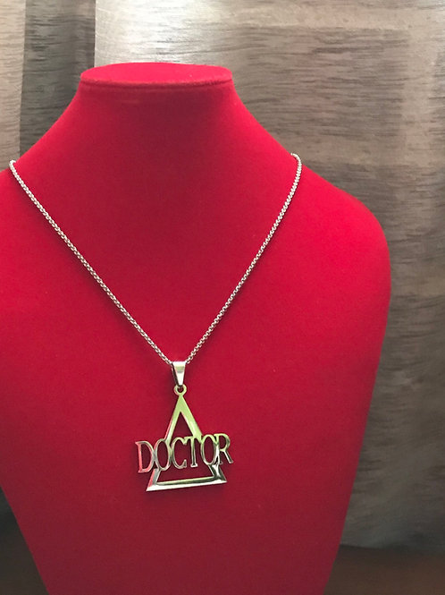 Delta Doctor Silver Stainless Steel  Pendant-Necklace