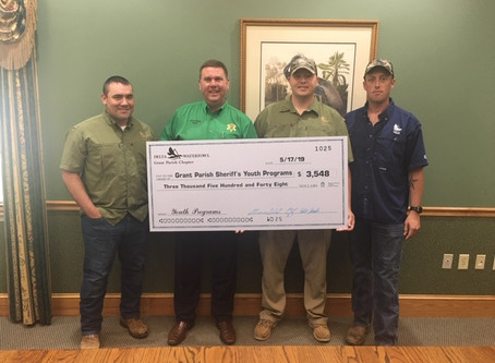 Grant Parish Chapter of Delta Waterfowl Donates to Sheriff's Youth Programs