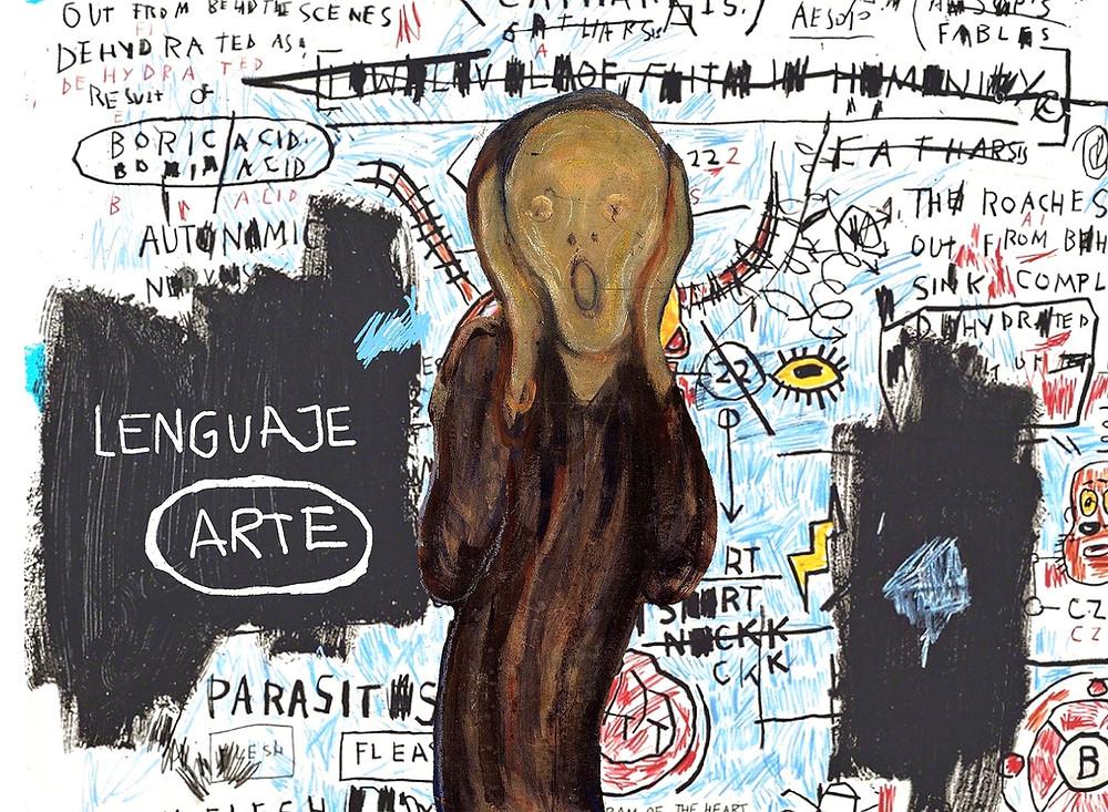 """Graffitis con una imagen central Edvard Munch '"""" El Grito"""""""