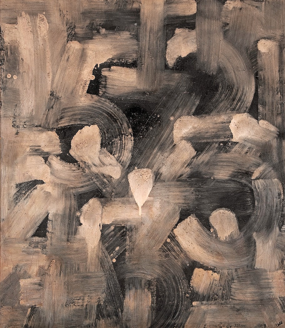 "Darío  Suro / Serie: Números /1948 / Técnica mixta / Óleo sobre tela/ 40"" x 41.5 |colección privada"
