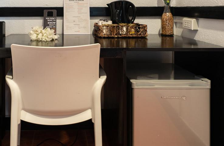Desk, coffee, minibar