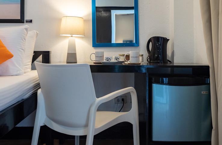 Desk, minibar, coffee, and tea!