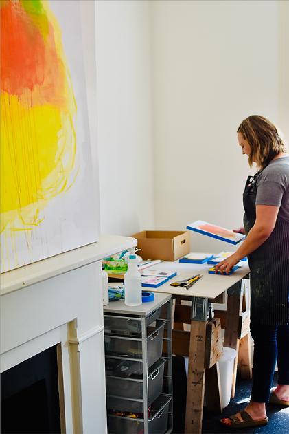 Image of artist Rachel Crockett Smith in the Peter Bullough Foundation studio