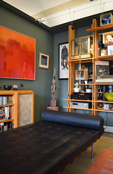 Barcelona bench in Dr. Bullough's upstairs gallery surrounded by art and medical art objects