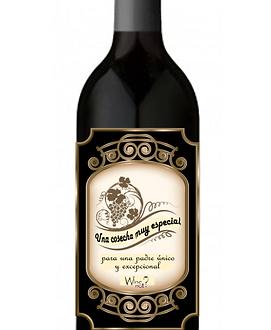 botella de vino dia del padre etiqueta personalzada