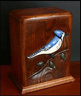 Blue Jay Funeral Urn, Hand carved funeral urns,carved funeral urn, wooden urns, creamation urns, oak blue jay urn, oak urn , cherry urn, Houles Custom woodcarving