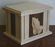 Contempory maple/walnut praying hands funeral urn